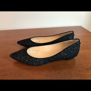 Black tweed pointed-toe flats (size 9.5)